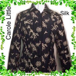 Black Print Silk Designer Jacket by Carole Little